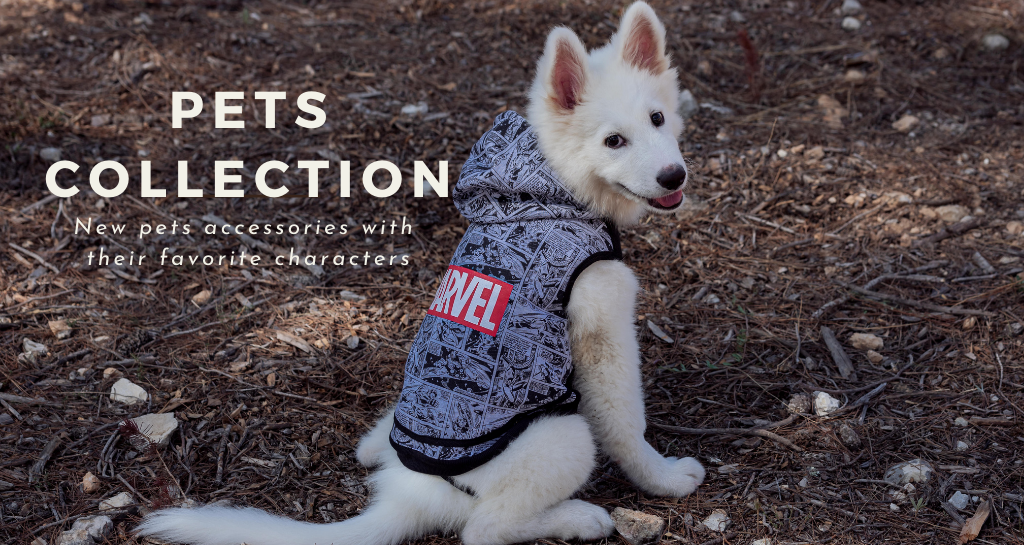 For Fan Pets. Our new pets' collection of accessories with their favorite characters