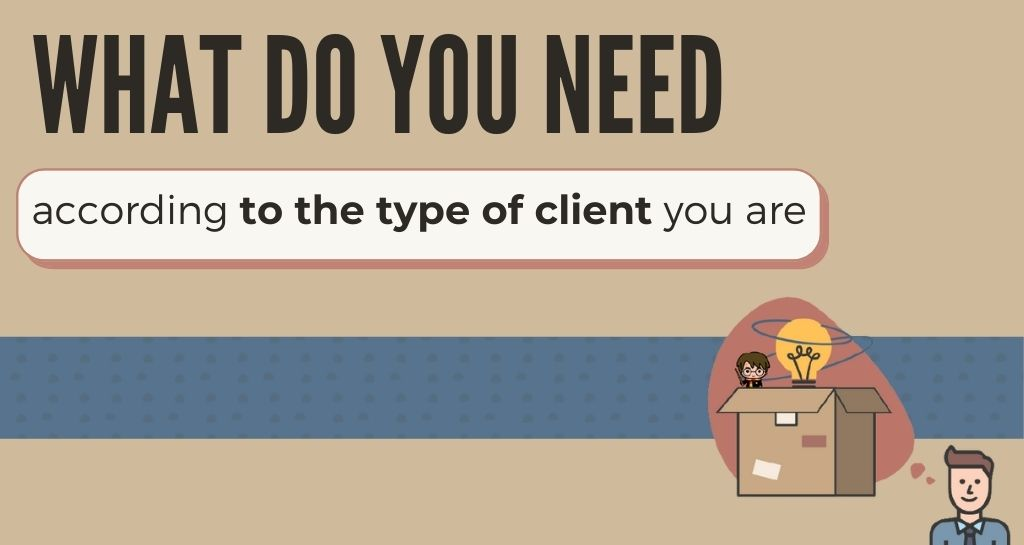 What do you need according to the type of client you are